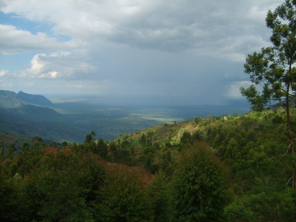 Rain storm rolling through the mountains of northern Tanzania